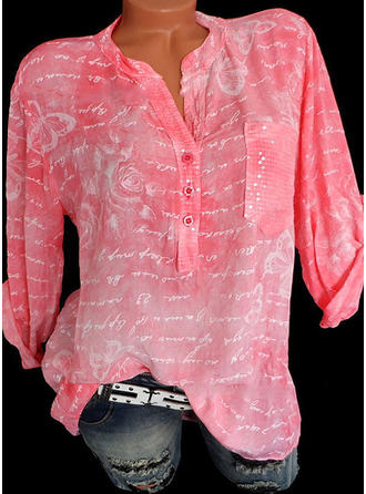 Print V-hals Lange ærmer Button-up Casual Bluser