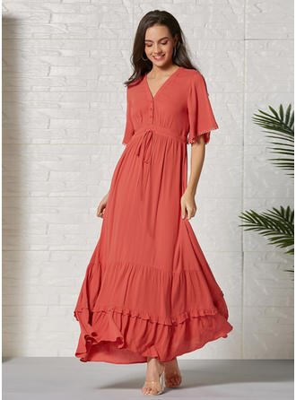 Solid 1/2 Sleeves A-line Maxi Casual Dresses