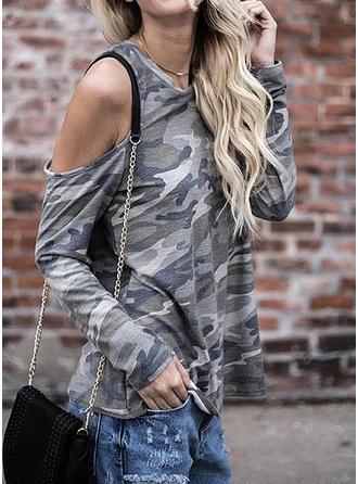 Animal Print Cold Shoulder Long Sleeves Casual T-shirt
