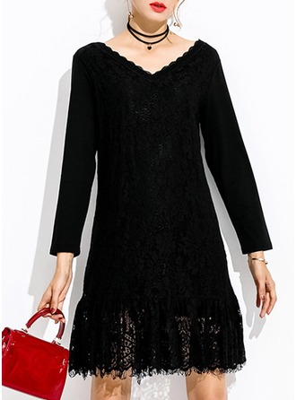 Cotton With Lace/Tassel/Solid Above Knee Dress