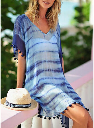Rand Maska V-ringning Bohemiskt Strandklänningar Badkläder
