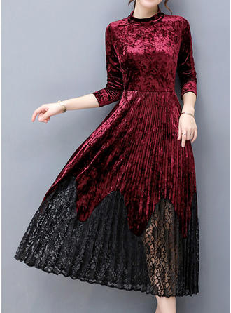 Lace Long Sleeves A-line Midi Vintage/Casual/Elegant Dresses