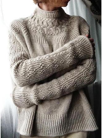 Sólido Punto De Cable Punto Grueso Cuello De Tortuga Suéteres