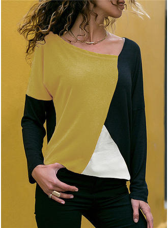 Colorblock V-nyak Hosszú ujjú Hétköznapokra robić na drutach πουκαμίσες