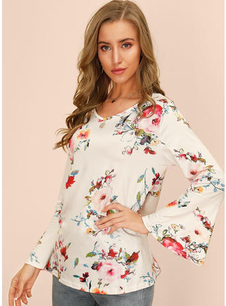 Print Floral Round Neck Flare Sleeve Long Sleeves Casual Blouses