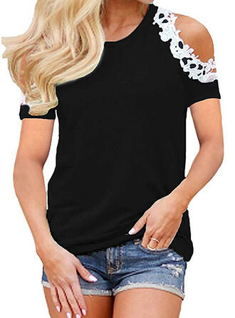 Patchwork Lace Cold Shoulder Short Sleeves Casual T-shirts