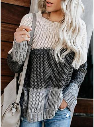 Color Block Waffle Knit Chunky knit Round Neck Oversized Casual Sweaters