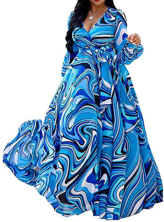Print Long Sleeves/Lantern Sleeve A-line Party/Vacation/Plus Size Maxi Dresses