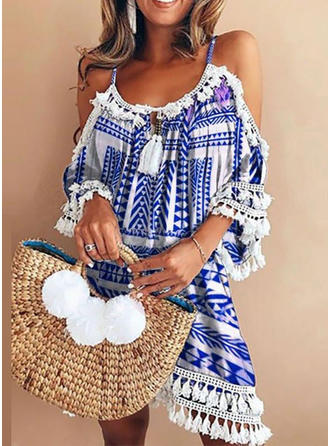 Print Cold Shoulder Sleeve Shift Knee Length Casual Dresses