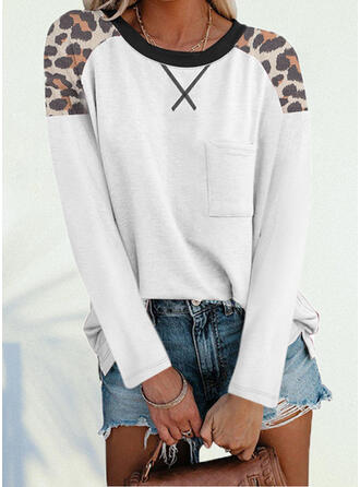 leopardo Girocollo Maniche lunghe Magliette