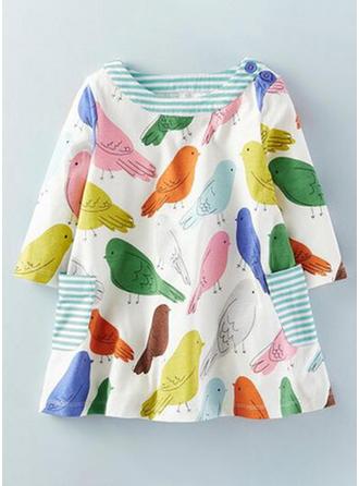Girls Round Neck Print Animal Casual Dress