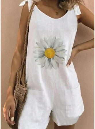 Floral Print Round Neck Sleeveless Casual Vacation Romper