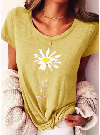 Print Floral Round Neck Short Sleeves Casual T-shirts