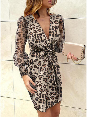Animal Print Long Sleeves/Puff Sleeves Bodycon Above Knee Sexy/Party Dresses