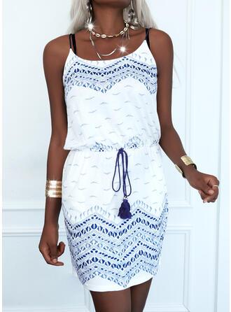 印刷 ノースリーブ シースドレス 膝上 カジュアル スリップ ドレス