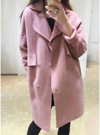 Polyester Coton Manches longues Couleur unie Manteaux de Laine