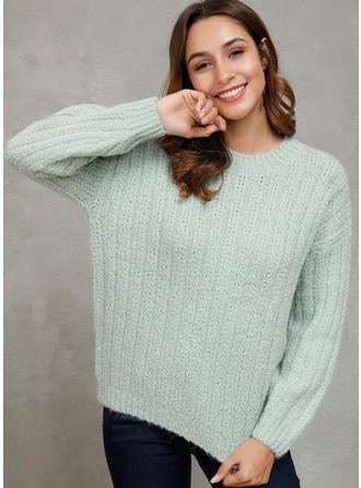 Einfarbig Grobstrick Rundhalsausschnitt Pullover