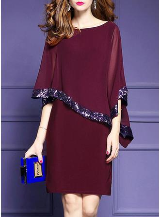 Sequins Round Neck Knee Length Sheath Dress