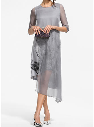 Print 3/4 Sleeves Shift Asymmetrical Casual/Elegant Dresses