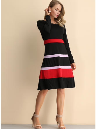 Striped Long Sleeves A-line Knee Length Vintage/Casual/Elegant Dresses