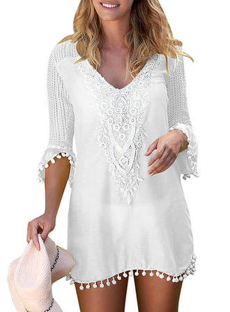 Splice color V-neck Cute Plus Size Cover-ups Swimsuits