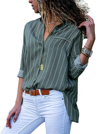 Striped Lapel Long Sleeves Button Up Shirt Blouses