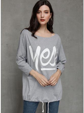 Print En-axels Långa ärmar Fritids Stickning T-shirts