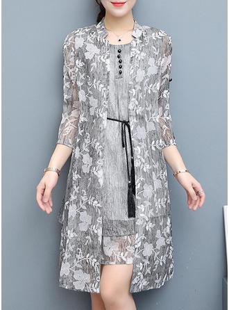 Print Floral Round Neck Above Knee Shift Dress (Two Pieces)