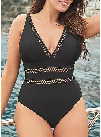 Solid Color Strap V-Neck Sexy Plus Size One-piece Swimsuits