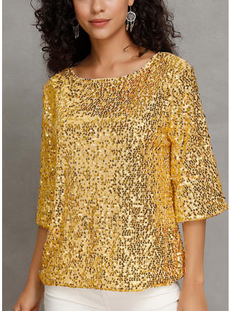 Sequins Round Neck 3/4 Sleeves Casual Elegant Blouses