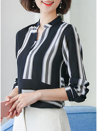 Chiffon V Neck Print Long Sleeves
