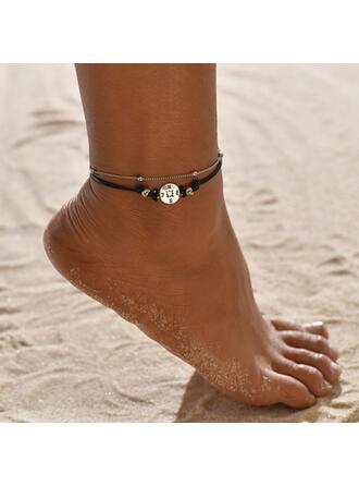 Enkle Legering Læder Reb med Mærke Mønt Strand smykker Fodlænker (Sæt af 2)