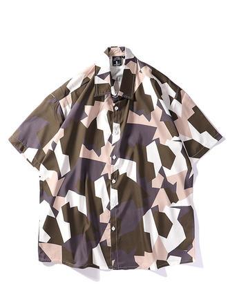 Mænd Splice farve Hawaii Beach Shirts