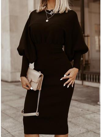 Couleur Unie Manches Longues/Manches Lanternes Moulante Longueur Genou Petites Robes Noires/Élégante Crayon Robes