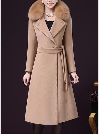 Woolen Cotton Long Sleeves Plain Woolen Coats