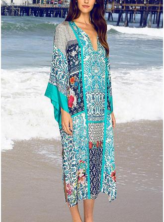 Trópusi nyomtatás V yaka Aranyos Plaj Elbisesi Fürdőruhák