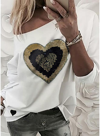 Sequins One-Shoulder Long Sleeves Casual Knit T-shirts