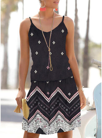 Geometric Print Sleeveless Shift Above Knee Casual/Boho/Vacation Dresses