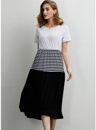 Striped/Patchwork Short Sleeves A-line Midi Casual Dresses