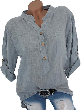 Plain Lapel Long Sleeves Button Up Casual Blouses