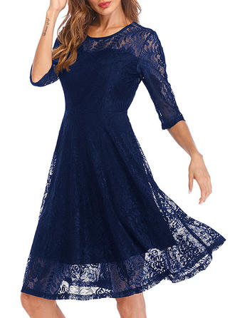 Lace 1/2 Sleeves A-line Knee Length Vintage Dresses
