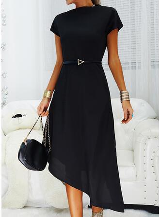 Solide Korte Mouwen A-lijn Zwart jurkje/Casual Medium Jurken