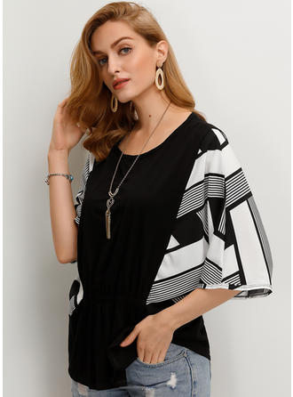 Geometric Print Round Neck 1/2 Sleeves Casual Blouses