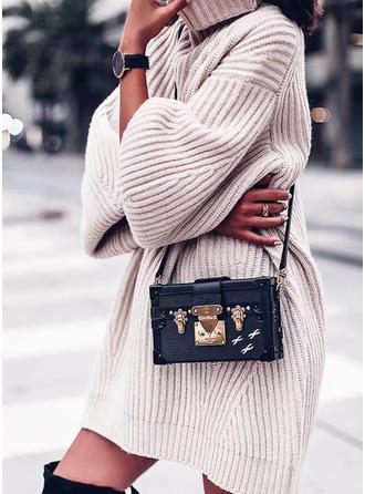 Cotton Turtleneck Plain chunky knit Sweater Dress
