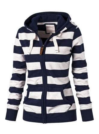 Cotton Long Sleeves Striped Slim Fit Coats