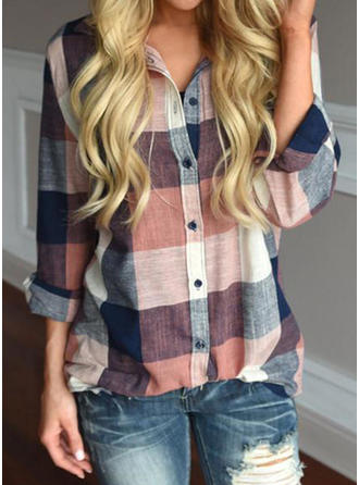 Print Lapel Long Sleeves Button Up Casual Blouses (1003236274)