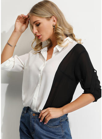 Color Block Lapel 1/2 Sleeves Button Up Casual Shirt Blouses