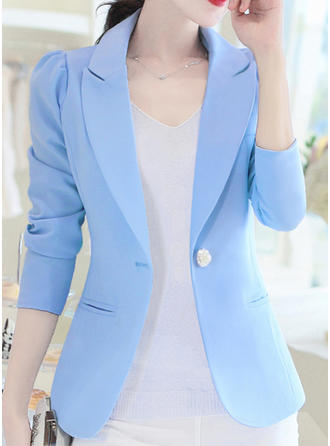 Polyester 3/4 Sleeves Plain Blazer