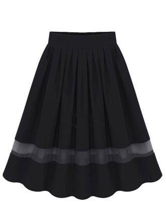 Chiffon Plain Knee Length A-Line Skirts