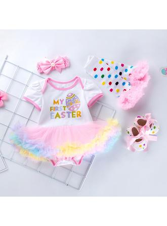 Bébé & Bambin Fille Lettre imprimée Coton Robe Manches Courtes,Bandeau,Shoes,Bas Définir La Taille